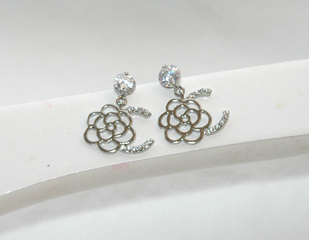 White Rhinestones Dangling Dazzling Silver Rose Earrings